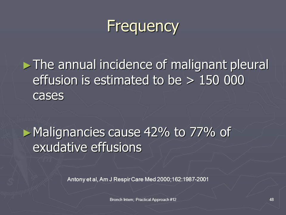 Frequency The annual incidence of malignant pleural effusion is estimated to be > 150 000 cases.