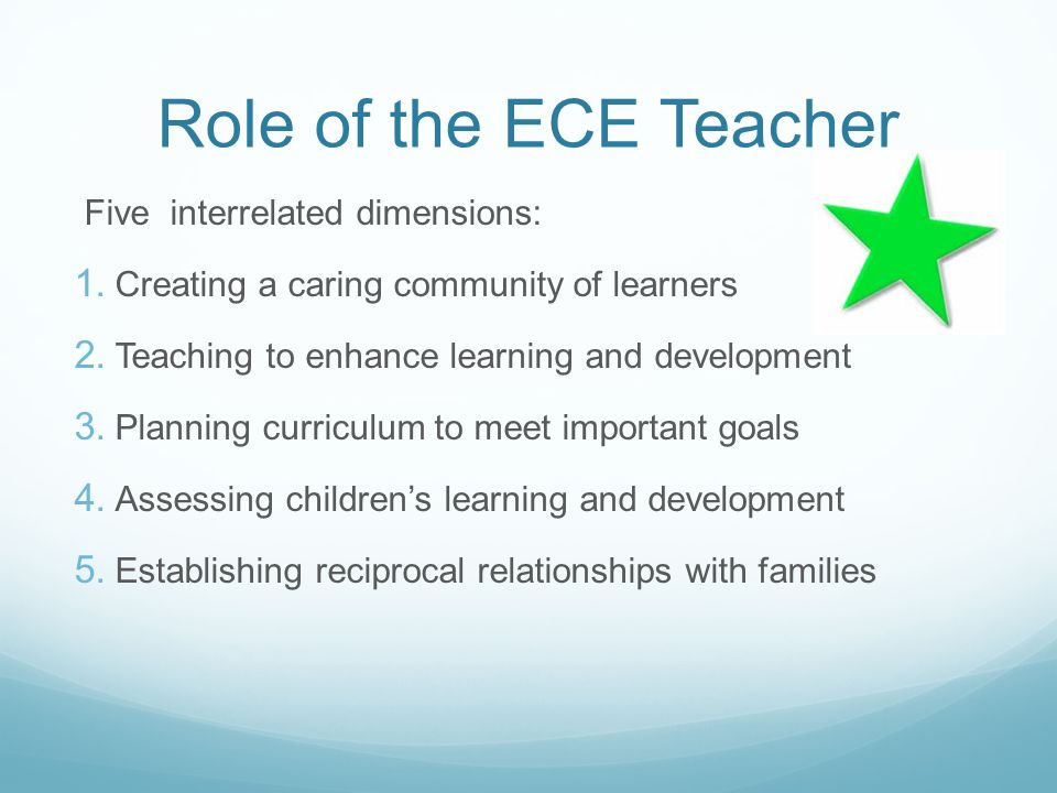 Role of the ECE Teacher Five interrelated dimensions: