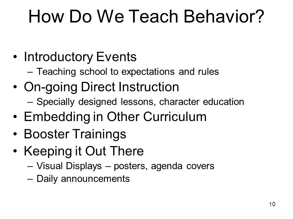How Do We Teach Behavior