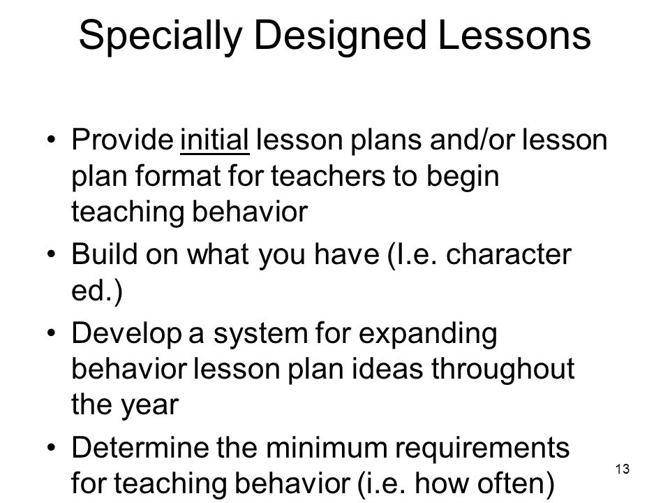 Specially Designed Lessons