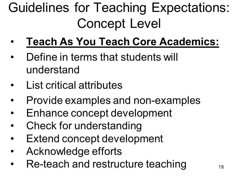 Guidelines for Teaching Expectations: Concept Level