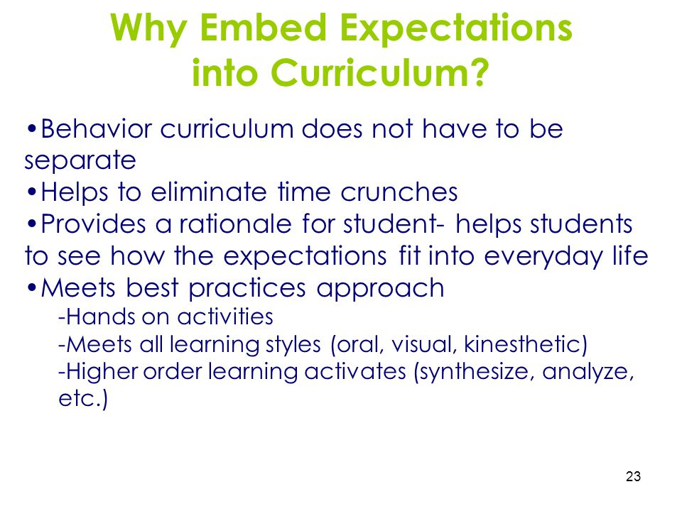 Why Embed Expectations