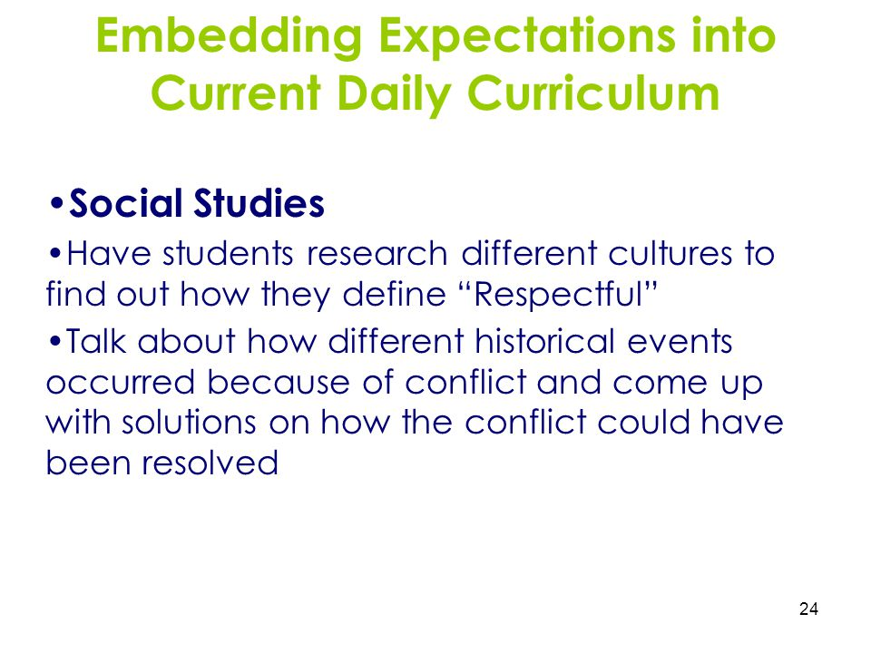 Embedding Expectations into Current Daily Curriculum