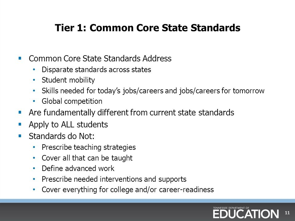 Tier 1: Common Core State Standards