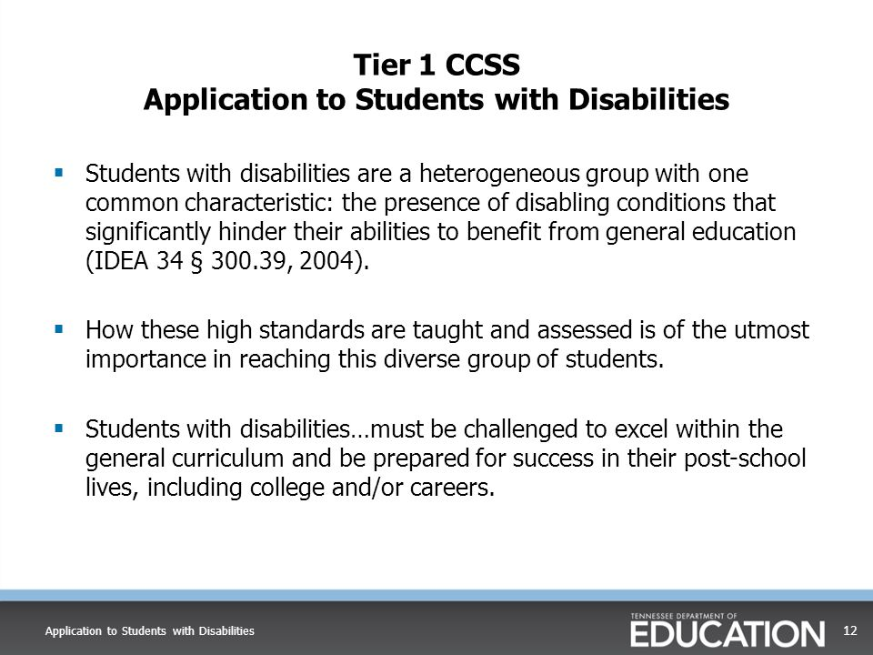 Tier 1 CCSS Application to Students with Disabilities