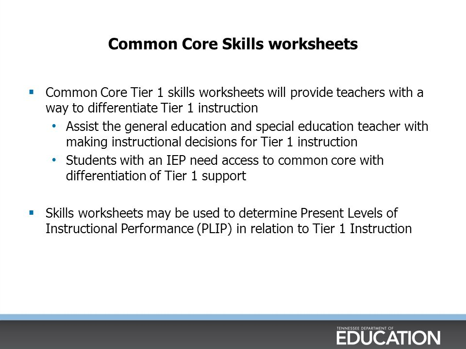 Common Core Skills worksheets