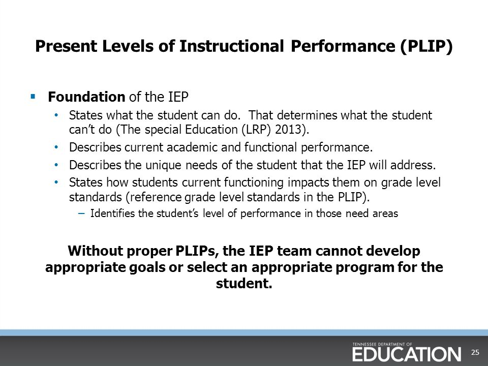 Present Levels of Instructional Performance (PLIP)