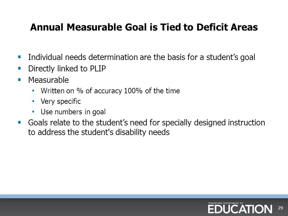 Annual Measurable Goal is Tied to Deficit Areas