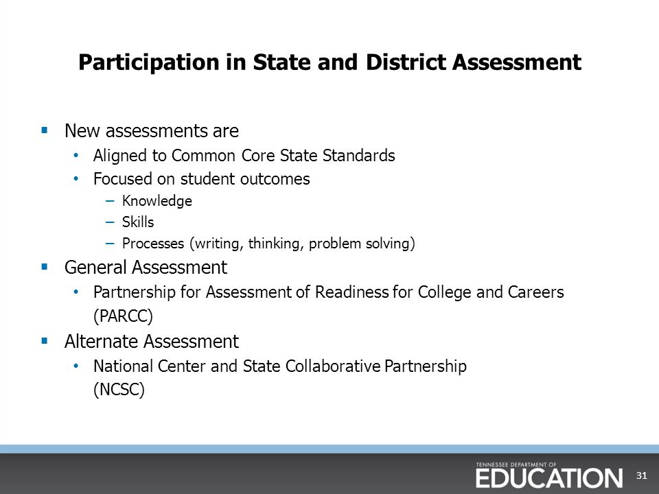 Participation in State and District Assessment