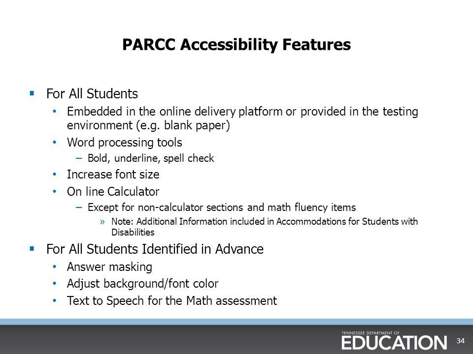 PARCC Accessibility Features