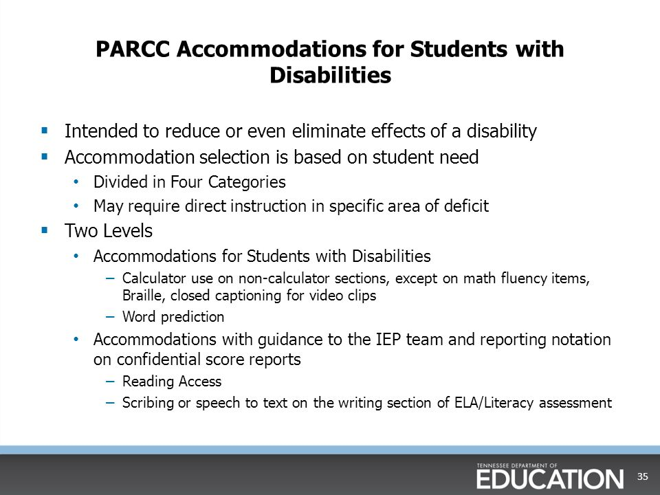 PARCC Accommodations for Students with Disabilities
