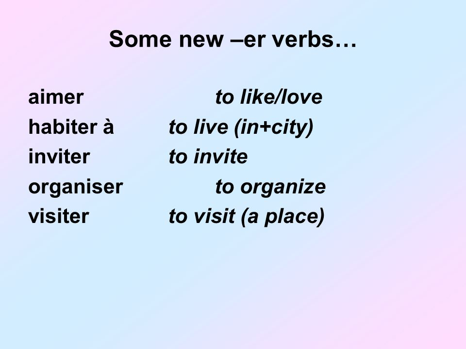 Some new –er verbs… aimer to like/love habiter à to live (in+city)