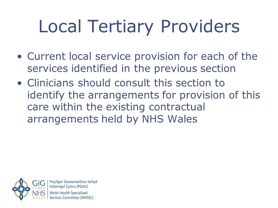 Local Tertiary Providers