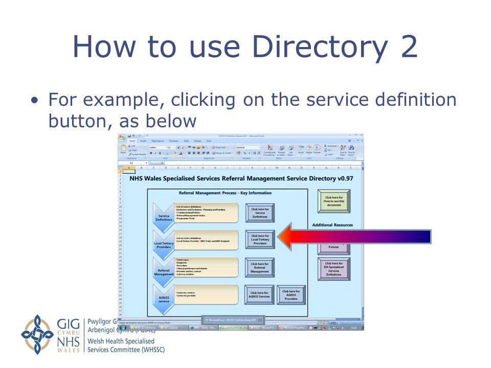 How to use Directory 2 For example, clicking on the service definition button, as below