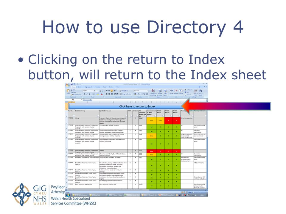 How to use Directory 4 Clicking on the return to Index button, will return to the Index sheet