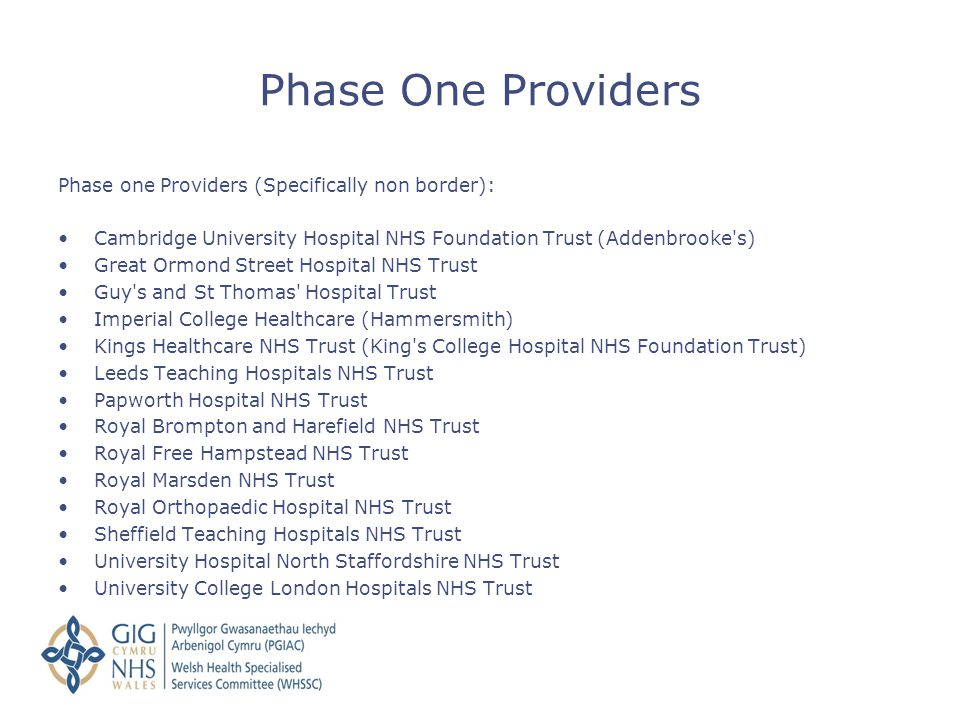 Phase One Providers Phase one Providers (Specifically non border):