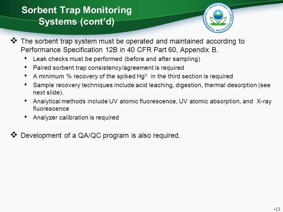 Sorbent Trap Monitoring Systems (cont'd)