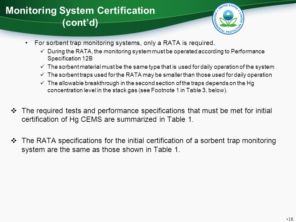 Monitoring System Certification (cont'd)