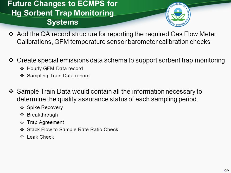 Future Changes to ECMPS for Hg Sorbent Trap Monitoring Systems