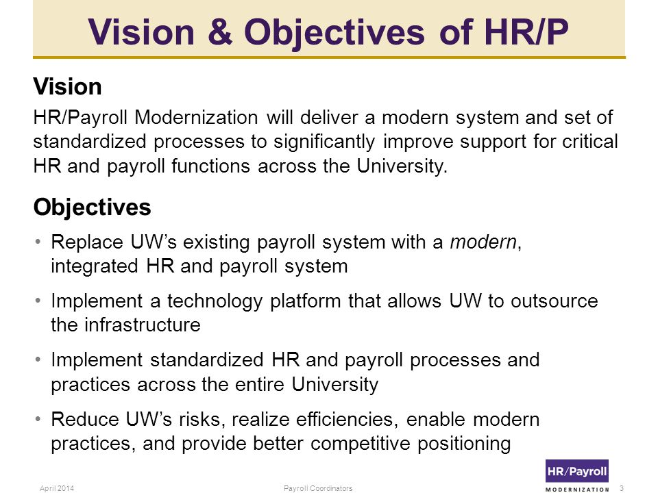 Vision & Objectives of HR/P