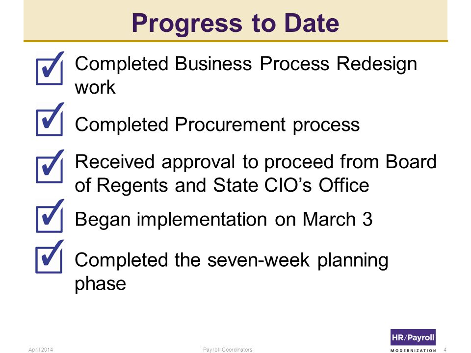 Progress to Date Completed Business Process Redesign work