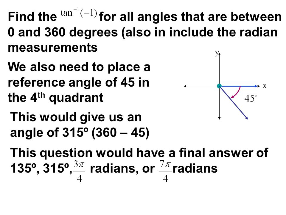 We also need to place a reference angle of 45 in the 4th quadrant