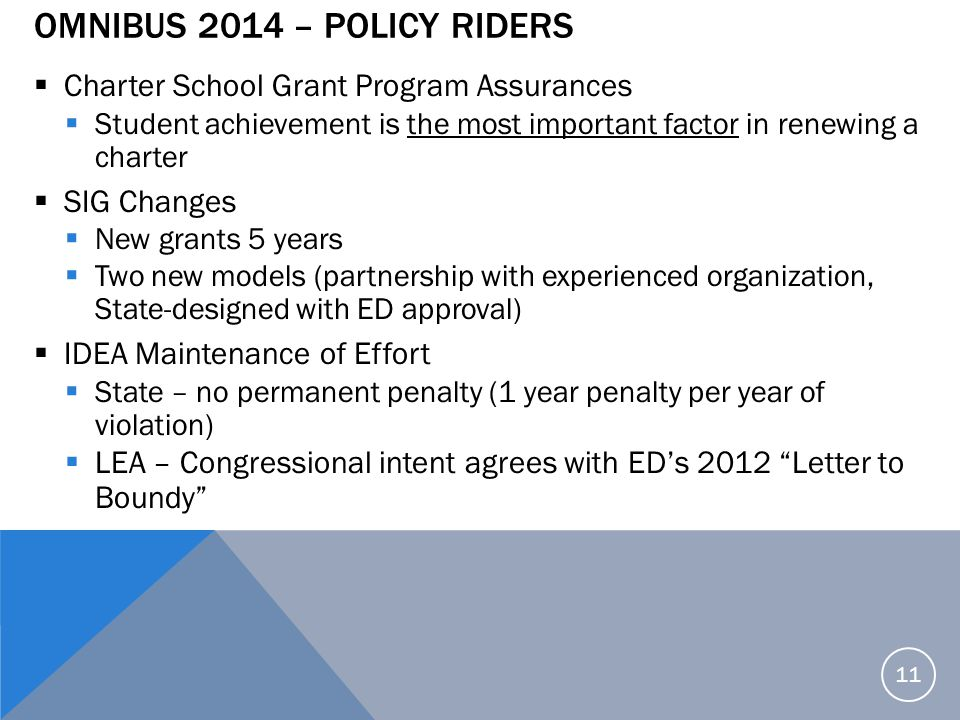 Omnibus 2014 – Policy Riders