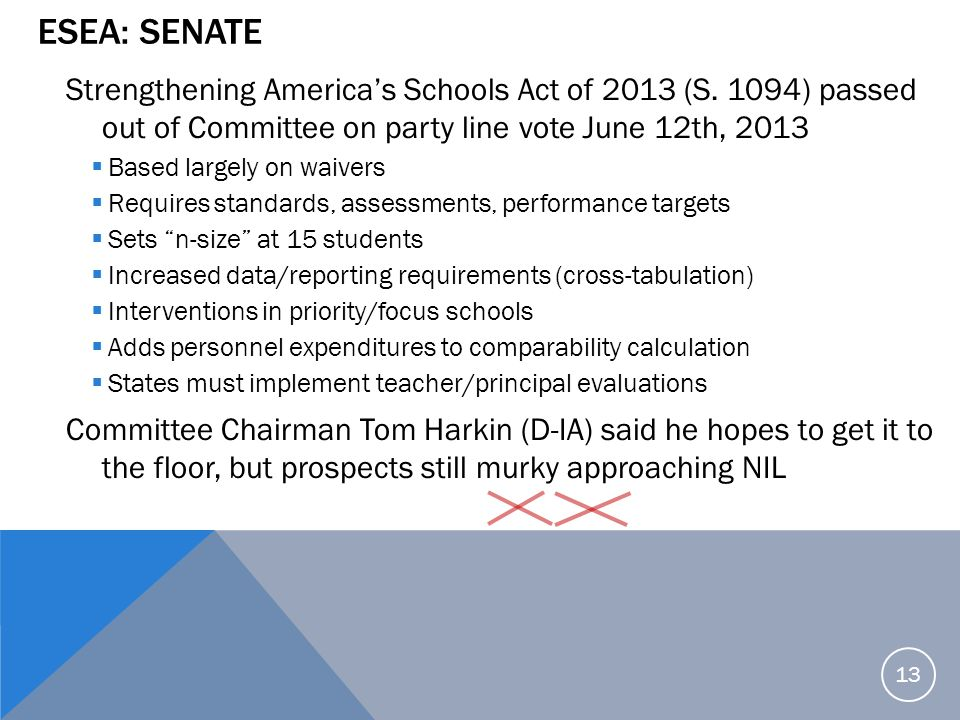 ESEA: Senate Strengthening America's Schools Act of 2013 (S. 1094) passed out of Committee on party line vote June 12th, 2013.