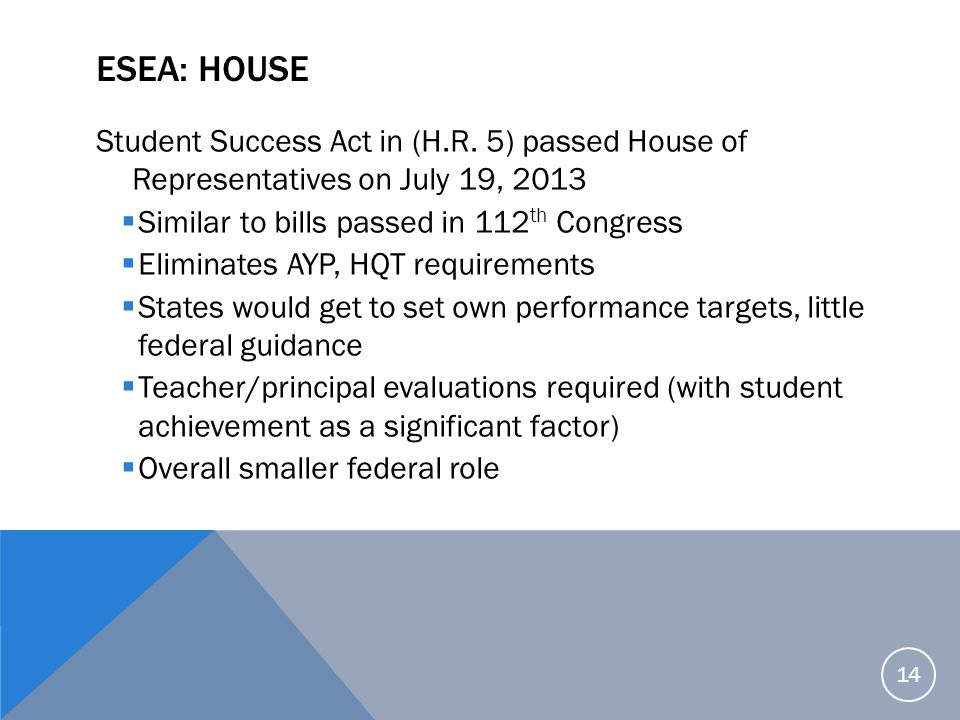 ESEA: House Student Success Act in (H.R. 5) passed House of Representatives on July 19, 2013. Similar to bills passed in 112th Congress.