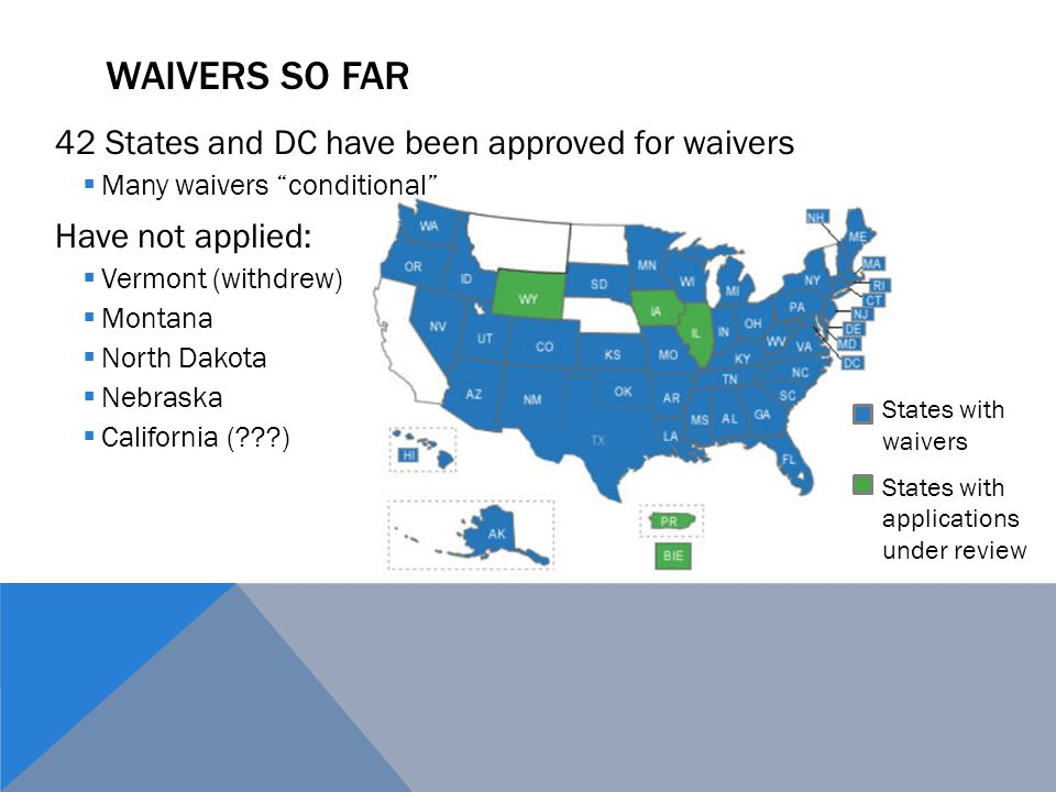 Waivers So Far 42 States and DC have been approved for waivers