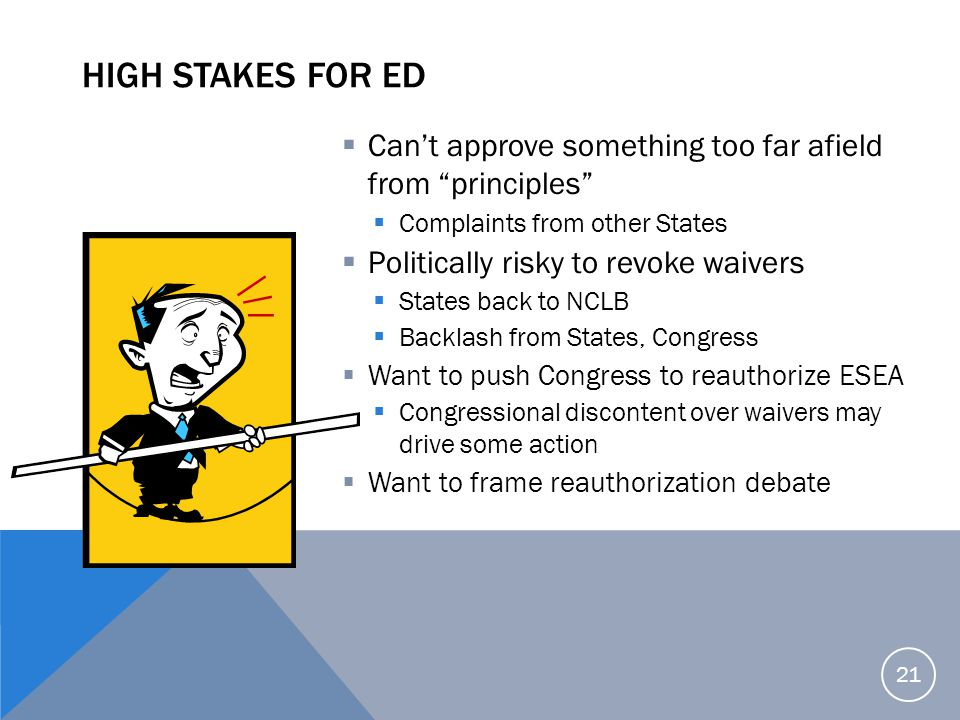 High Stakes for ED Can't approve something too far afield from principles Complaints from other States.