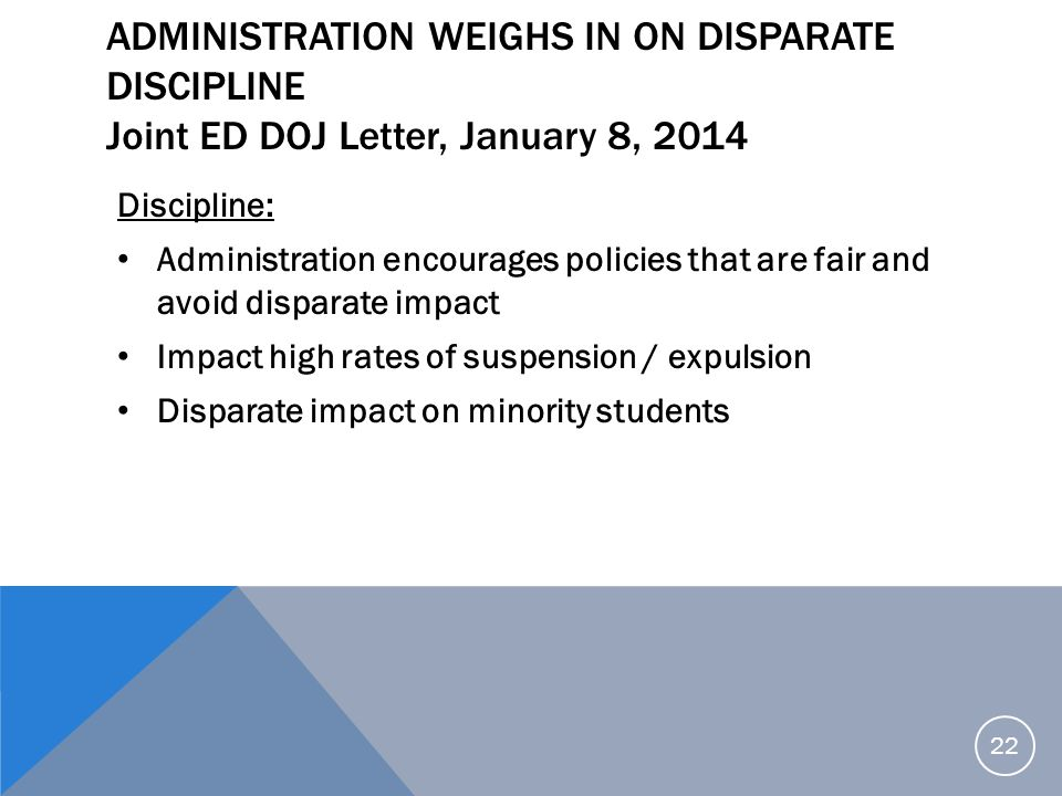 Administration Weighs in on Disparate Discipline Joint ED DOJ Letter, January 8, 2014