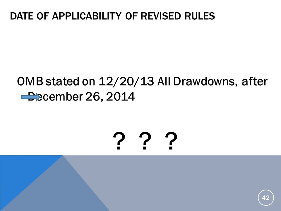 Date of Applicability of Revised Rules