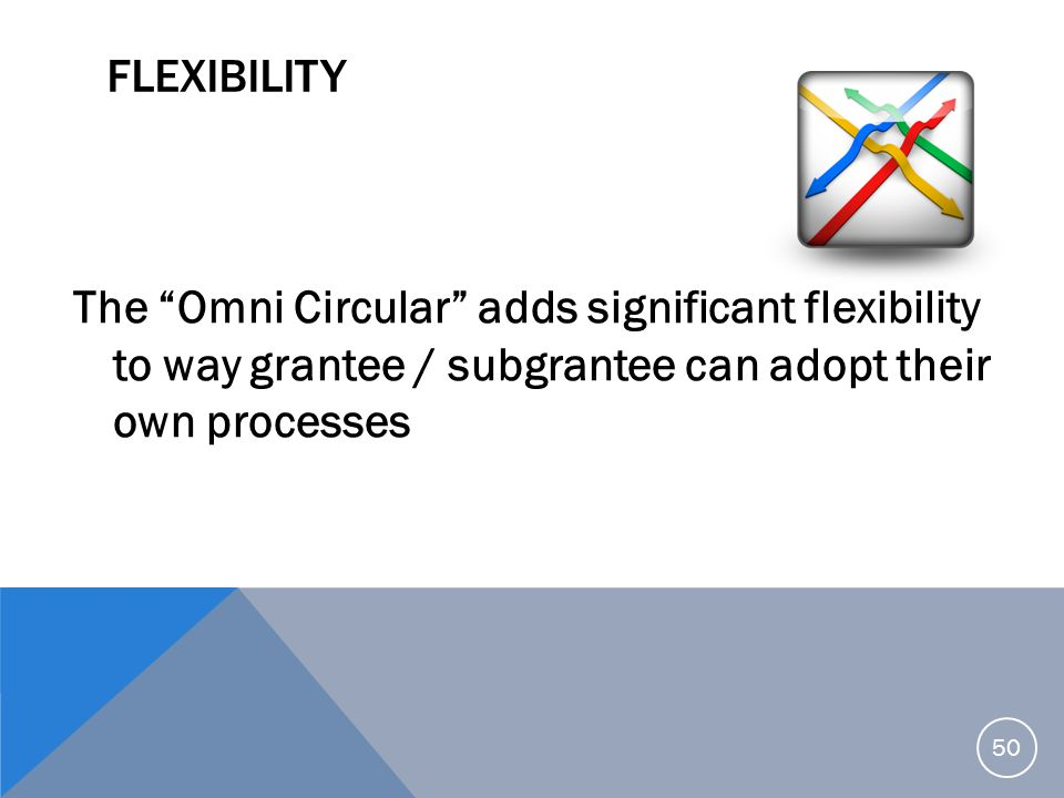 Flexibility The Omni Circular adds significant flexibility to way grantee / subgrantee can adopt their own processes.