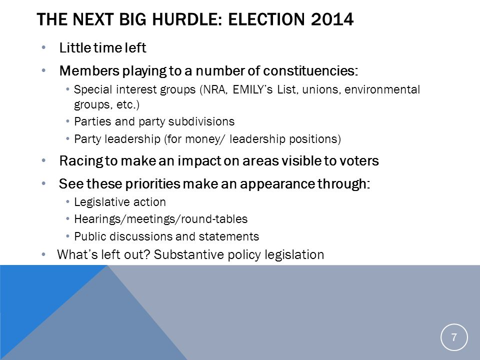 The next big hurdle: Election 2014