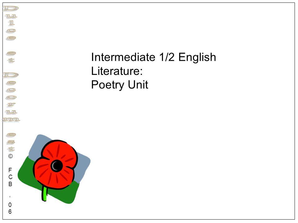 Intermediate 1/2 English Literature: Poetry Unit