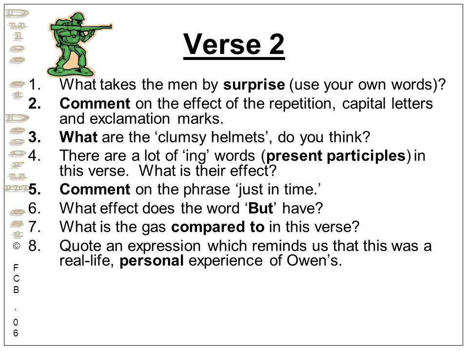 Verse 2 What takes the men by surprise (use your own words)
