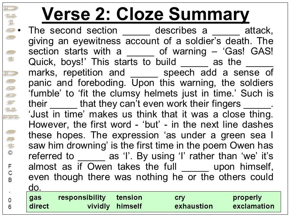 Verse 2: Cloze Summary