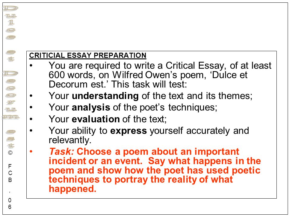 paper analysis on the poem dulce et decorum est essay