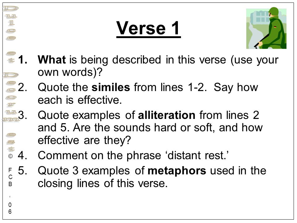 Verse 1 What is being described in this verse (use your own words)