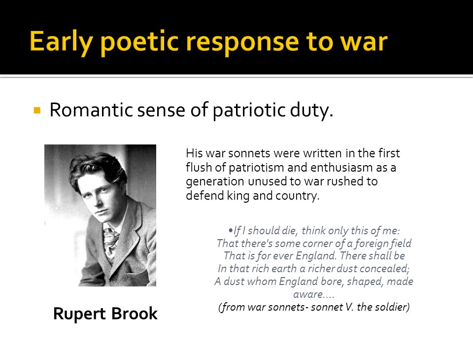 Early poetic response to war