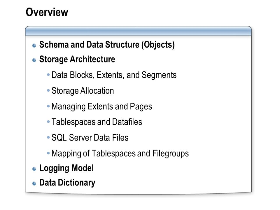 Overview Schema and Data Structure (Objects) Storage Architecture