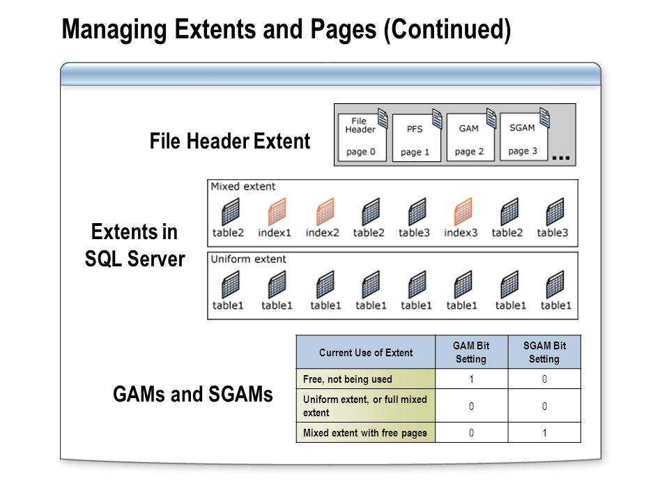 Managing Extents and Pages (Continued)