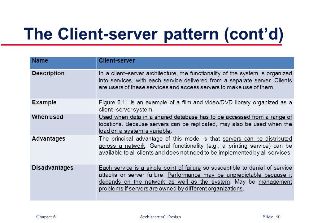 The Client-server pattern (cont'd)