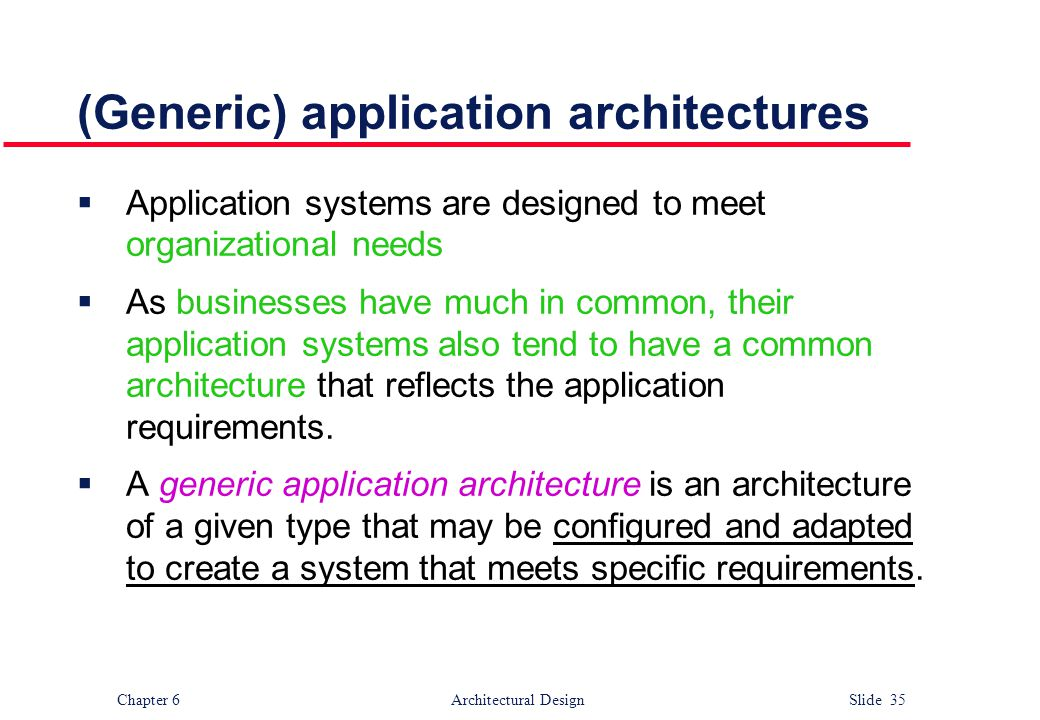 (Generic) application architectures