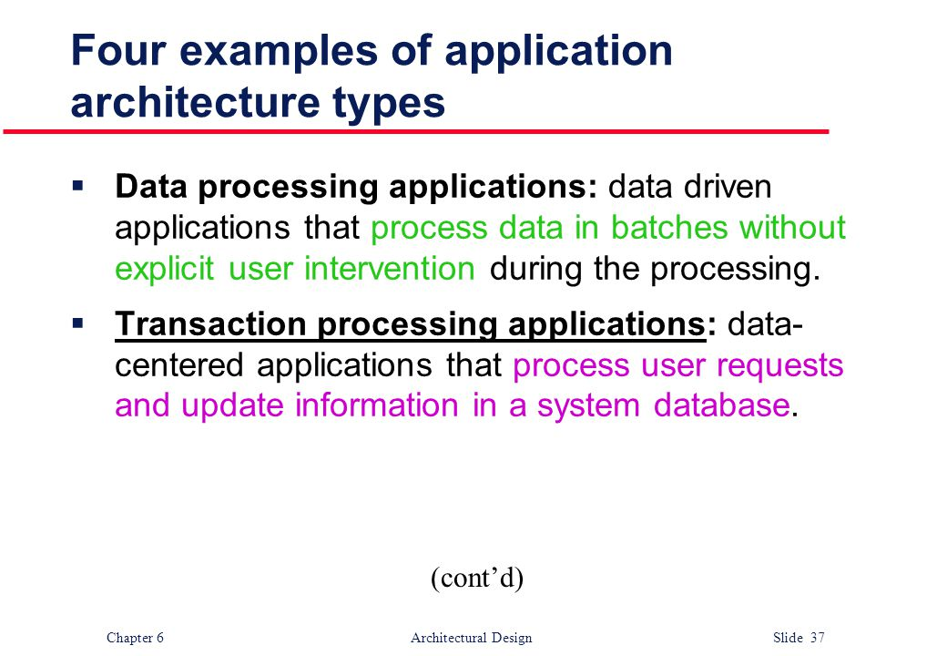Four examples of application architecture types
