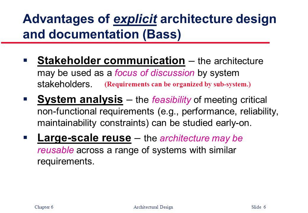 Advantages of explicit architecture design and documentation (Bass)
