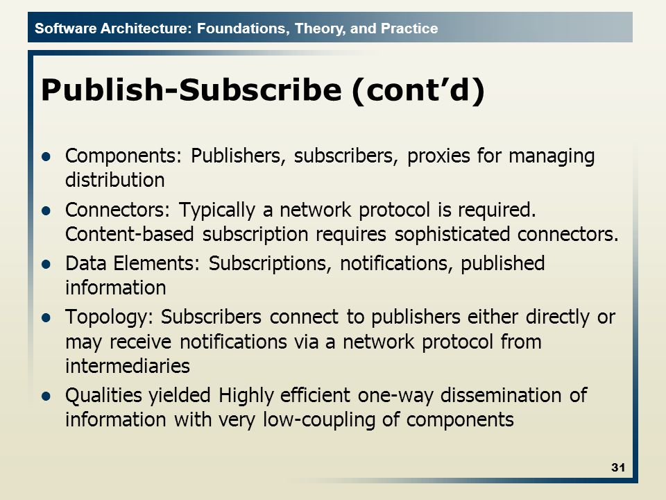Publish-Subscribe (cont'd)