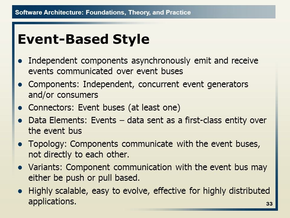 Event-Based Style Independent components asynchronously emit and receive events communicated over event buses.