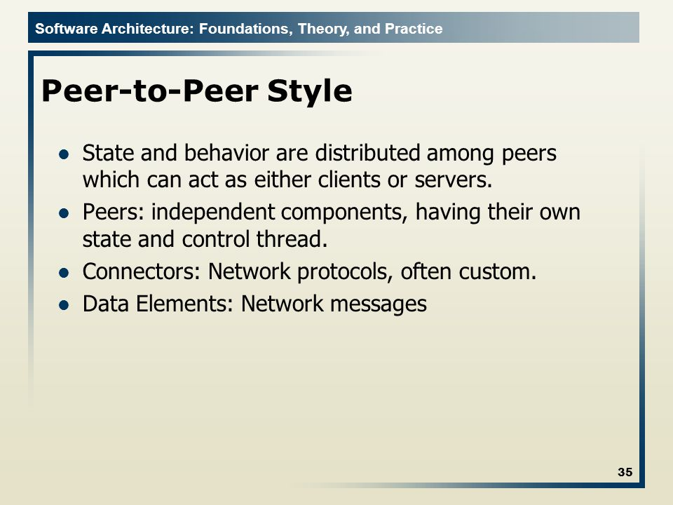 Peer-to-Peer Style State and behavior are distributed among peers which can act as either clients or servers.